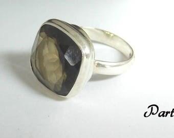 Vintage Sterling Silver Quqrtz Ring Size ( 8 )