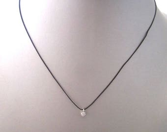 Black and zirconia necklace