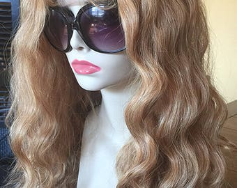 SILK TOP WAVY 18 inch Human Hair Remy Full Lace Wigs #27 Strawberry Blonde