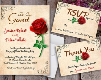 Merveilleux Beauty And The Beast Wedding Invitations   Beauty And The Beast Invitations    Vintage Invitations