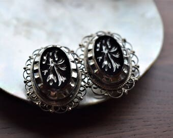 Sterling Silver and Floral Motif Black Glass Filigree Wedding Earrings from Mexico