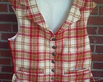 Gentlemen's victorian red/cream/gold plaid wool vest