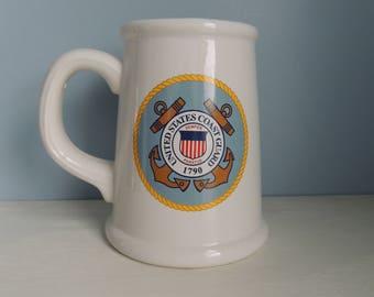 United States Coast Guard Beer Stein, Vintage Coast Guard Stein,  Semper Paratus, US Coast Guard, Vintage US Coast Guard Beer Mug