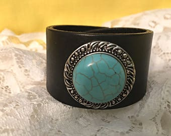Upcycled Black Cuff with Silver and Turquoise, Boho Black and Turquoise Cuff, Women's Cuff Bracelet, Repurposed Cuff Black and Turquoise