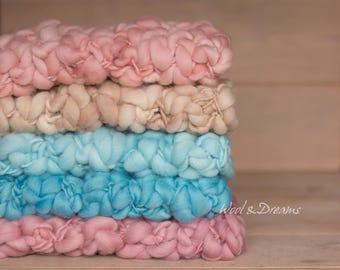 RTS Handspun Mini Chunky Wool Blanket Photography Prop Newborn