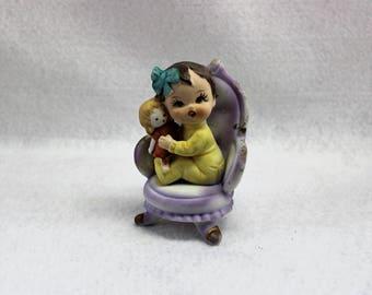 Little girl figurine little girls room decor baby room baby gift little girls gift little girl holding a doll