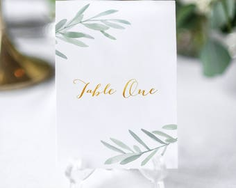 Wedding table numbers, Italian rustic wedding decoration, rustic table cards for weddings, olive branches numbers for weddings