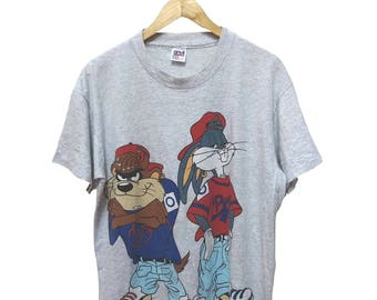 Hot Sale!!! Rare Vintage 90s Looney Tunes TAZMANIA & BUGS BUNNY Double Sided Cartoon T-Shirt Hip Hop Skate Swag Large Size