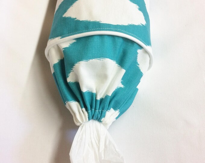 Plastic Bag Holder, Bag Dispenser, Grocery Bag Holder, Turquoise Bag Holder,