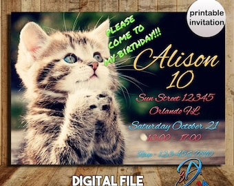 Cat, Cat invitation, kitty invitation, cat birthday, kitten invitation, cat birthday party, cat party, kitty cat invitation, kitty cat party