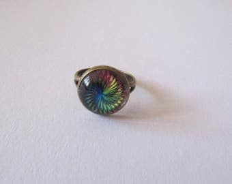 Rainbow glass cabochon Adjustable ring
