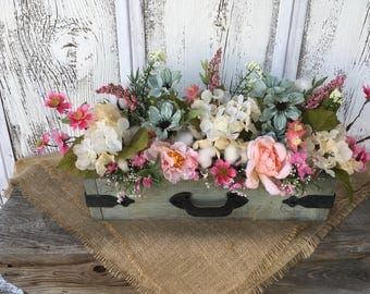 Vintage Green Wood Box with Hardware Spring Arrangement, Summer Floral Arrangement, FAAP, Wedding Centerpiece, Easter, Mothers Day