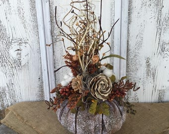 Floral Fall Pumpkin Arrangement, Autumn Pumpkin Centerpiece, Fall Wedding Centerpiece, Thanksgiving Table Arrangement, Brown White Pumpkin