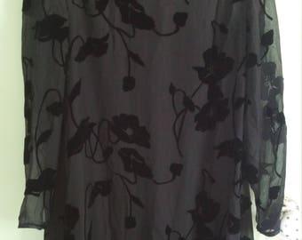 90s vintage black velvet floral dress