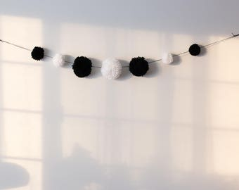 Black and White Pom Pom Garland