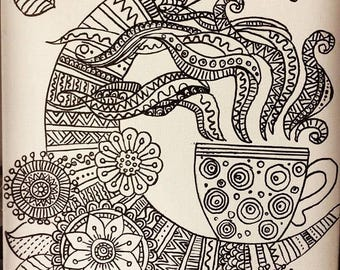 "Handmade Mini Mandala Art on 10""x 8"" Canvas"