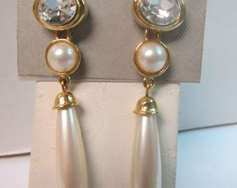 "Vintage marvella post earrings With Cubic zirconia and Faux Pearls 2.5"" long."