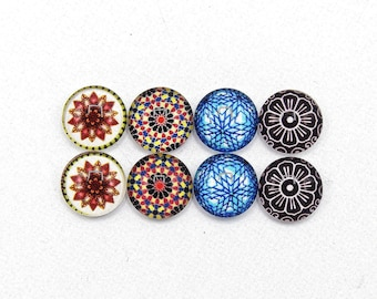 """8 cabochons round glass mixte12mm series 1 """"3"""""""