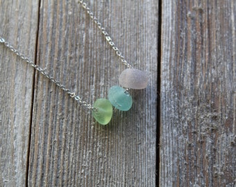 Sea Glass Nugget Necklace in Spring Colors | downbytheseaglass