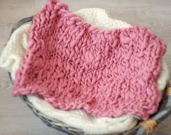 Baby blanket wool Pink Plaid newborn photo prop grey pink knit baby newborn blanket