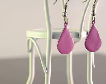 purple small teardrop enamel earrings