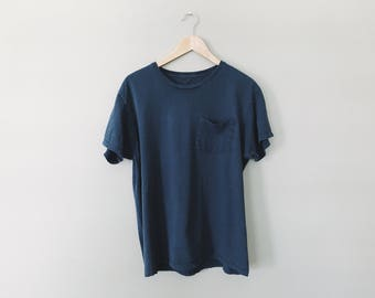 Worn Pocket Tee - Perfectly Distressed and Thrashed Basic Minimal Pocket T-Shirt - Size Mens Large, Dark Blue