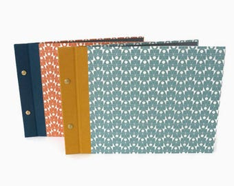 A4 Hardback Post Bound Journal or Sketchbook:  Bookcloth and Contemporary Geometric Printed Paper