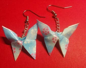 """Butterflies"" earrings with hook and silver chain (B_027)"
