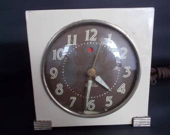 Vintage Westclox Logan Electric Red Dot Alarm Clock