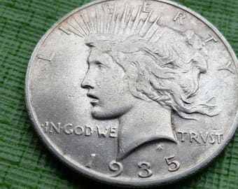 1935 S Peace Silver dollar,  VF details #J916