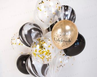 Gold & Black Marble Confetti Balloon Bouquet, Wedding, Birthday, 21st Party, 30th, 40th, 50th - AU Free Shipping
