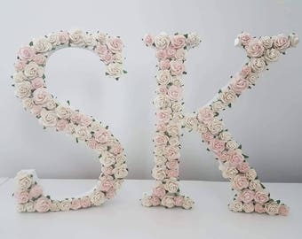 Floral Initial Letter, personalised letter, mulberry paper rose decorated initial, pretty rose letter, shabby chic name, vintage style