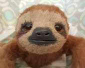 MADE TO ORDER Sloth Poseable Art Doll Realistic Sloth Stuffed Sloth Animal Doll Poseable Plush Three Toed Sloth Doll Sloth Gift