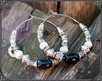 Boho Stainless Steel Creoles Silver-Black