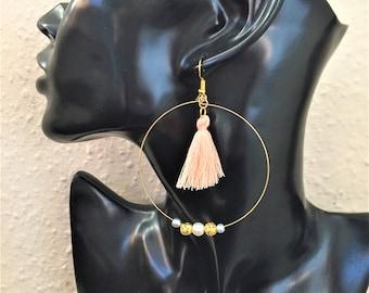 Hoop tassel earrings, Hoop earrings, Tassel earrings, statement earrings, item 747 by CraftyLittleMonkeyGB