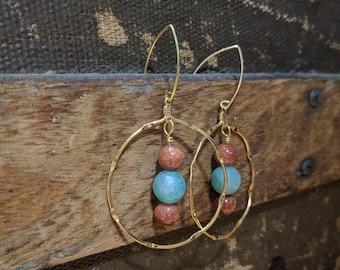 Hoop Earrings with Sunstone and Aventurine
