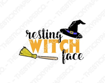 Resting Witch Face Vinyl Decal SVG HTV Iron On