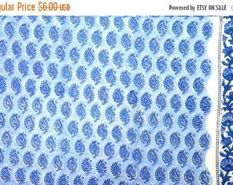10% Off On Blue Paisley Block Print Indian Cotton Fabric by the Yard