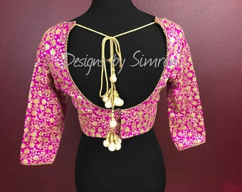 36 to 40 inch Fuchsia Saree Blouse | Sequins Blouse