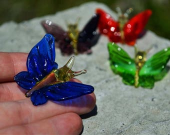 Small Glass butterfly in glass fused glass animals figurines garden gift child girl for baby glass decoration glass figure menagerie toys
