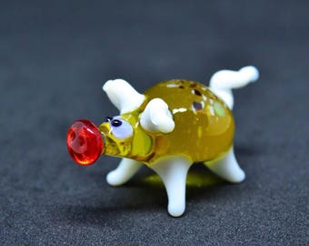 Small glass pig figurine animals glass pig miniature art peppa glass pigs toy murano piggy animals tiny small figure glass collectible pigs