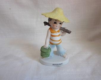 Vintage Hand Painted Summertime August Boy Figurine