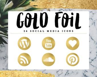 Gold Foil Social Media Icons Blog Blogger Website Web Design Buttons Metallic Blogging Modern Minimal Digital Blogging Follow Network Icon