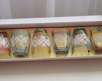 1970 Glasses. Boxed Retro Glasses. Retro Shot Glasses. Boxed Retro Shot Glasses. Original Boxed 1970 Glasses. Set of 6 Glasses.