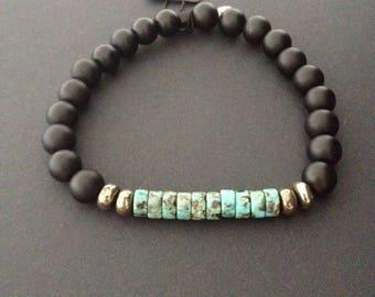 Mens bracelet, African Turquoise, Onyx, Pyrite. Biker