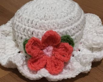 Springtime crochet baby hat size3 to 6 months