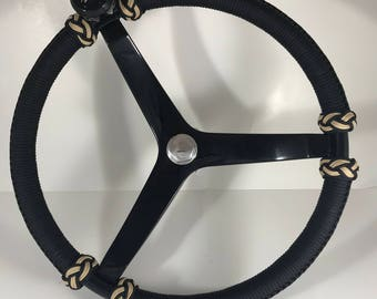 Gemlux deluxe knob 15.5 inch Boat steering wheel, paracord wrapped, with steering wheel knob insert