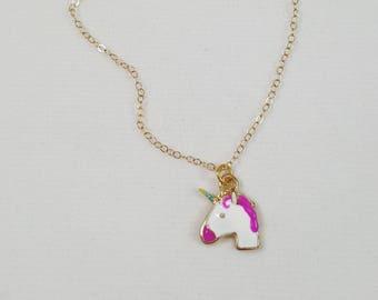 Unicorn Necklace, Rainbow Unicorn Necklace, Unicorn Jewelry, Unicorn Emoji