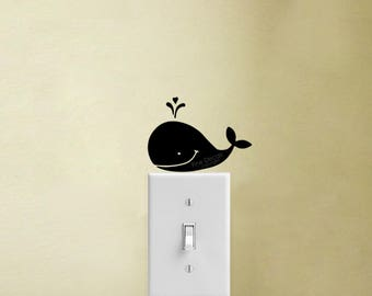 Whale Vinyl Decal Sticker Nursery Light Switch Decor