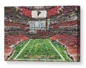 Unique Atlanta Falcons Mosaic Art Print of Mercedes-Benz Stadium made of 289 Player Cards.  All the Great Past and Present Stars.